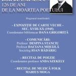 """15 iunie: Eveniment organizat la Centrul Cultural """"Liviu Rebreanu"""" din Aiud cu prilejul împlinirii a 126 de ani de la moartea poetului Mihai Eminescu"""