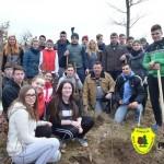 Elevi și angajați ai primăriei din Aiud, la sădit puieți de arbori în pădurea Sloboda