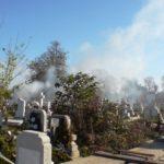 Intervenție a pompierilor militari din Aiud, pentru stingerea unui incendiu de vegetație uscată izbucnit în cimitirul din Băgău