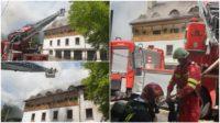 Intervenție a pompierilor militari din Aiud, Alba Iulia și Turda la Mănăstirea Râmeț, după ce o parte a acoperișului a luat foc